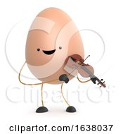 3d Cute Toy Egg Plays A Violin On A White Background