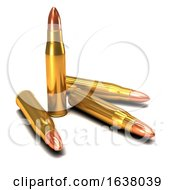 3d Brass Bullets On A White Background