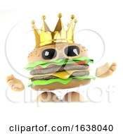 3d King Burger On A White Background by Steve Young