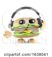 3d Burger Headphones On A White Background by Steve Young