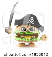3d Pirate Burger On A White Background by Steve Young