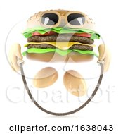 3d Burger Skipping On A White Background by Steve Young
