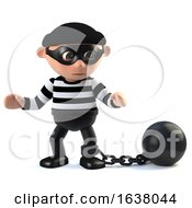 3d Funny Burglar Character Has A Ball And Chain On A White Background by Steve Young