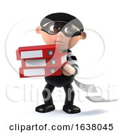3d Funny Cartoon Burglar Character Steals Data On A White Background by Steve Young