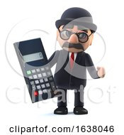 3d Bowler Hatted British Businessman With Calculator On A White Background by Steve Young