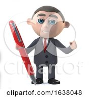 3d Businessman Has A Red Pen On A White Background by Steve Young
