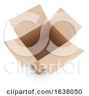 3d Open Cardboard Box On A White Background