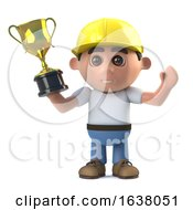 Poster, Art Print Of 3d Construction Worker Wins A Gold Trophy Award On A White Background