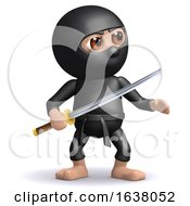 3d Ninja With Katana On A White Background by Steve Young