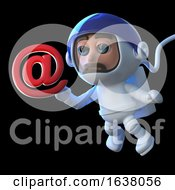 3d Render Of A Funny Cartoon Astronaut Spaceman Character With An Email Address Symbol On A Black Background