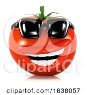3d Cool Tomato On A White Background