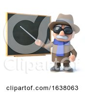 3d Blind Man Points The Chalkboard On A White Background by Steve Young