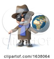 3d Funny Cartoon Old Blind Man Character Has A Globe Of The Earth On A White Background by Steve Young