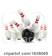 3d Ten Pin Bowling Strike On A White Background