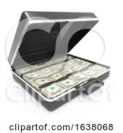 3d Briefcase Full Of US Dollars On A White Background