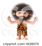 3d Crazy Hairy Caveman Cheers With Joy On A White Background