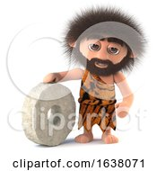 3d Funny Caveman Invents The Wheel On A White Background