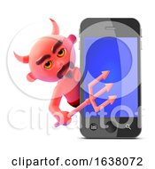 3d Devil Finds A Smartphone On A White Background