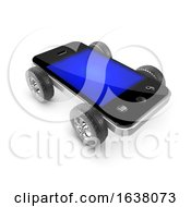 3d Wheeled Smartphone On A White Background by Steve Young