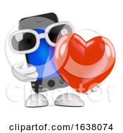 3d Smartphone With A Big Red Heart On A White Background by Steve Young