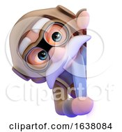 3d Airline Pilot Looks Round The Corner On A White Background