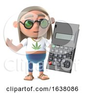 Poster, Art Print Of 3d Hippy Stoner Has A Calculator To Help With The Math On A White Background