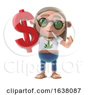 3d Hippie Stoner Has A US Dollar Symbol On A White Background