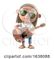 3d Hippie Stoner Plays His Acoustic Guitar On A White Background