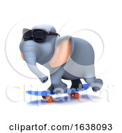 3d Skateboarding Elephant On A White Background by Steve Young