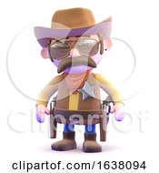 3d Cowboy Ready To Draw On A White Background