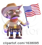 3d Cowboy Waves The American Flag On A White Background