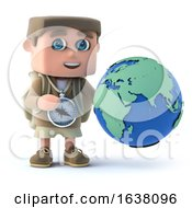 3d Render Of A Kid Explorer Holding A Globe On A White Background