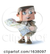 3d Explorer Kid Reads A Map On A White Background