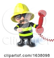 3d Firefighter Answers The Phone On A White Background by Steve Young