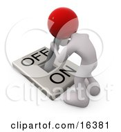 White Person With A Red Head Attached To An OnOff Switch Lever Crouching Over And Struggling To Turn The Switch Off Clipart Illustration Graphic