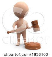 3d Little Auctioneer On A White Background by Steve Young