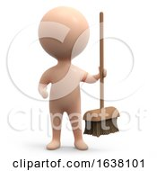3d Human Cleaner On A White Background by Steve Young