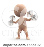 3d Little Weightlifter On A White Background by Steve Young
