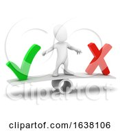 3d Little Person Tick Or Cross On A White Background