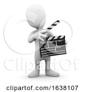 3d Little Man Makes A Movie On A White Background by Steve Young