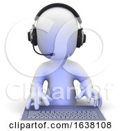 3d Little Man Wearing A Headset Online On A White Background