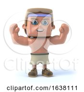 3d Bodybuilder Raises His Arms In Cheer On A White Background by Steve Young