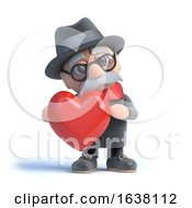 Poster, Art Print Of 3d Old Man Hugging A Heart On A White Background