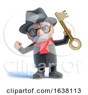 3d Old Man Holds Up A Gold Key On A White Background by Steve Young