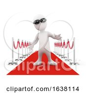 3d Little Celebrity On The Red Carpet On A White Background