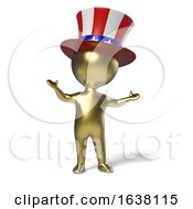 Poster, Art Print Of 3d Little Gold Man With Uncle Sam Stars And Stripes Top Hat On A White Background