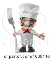 3d Funny Cartoon Old Italian Chef Character Holding A Fork Utensil On A White Background by Steve Young