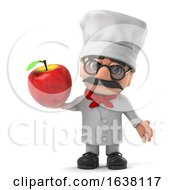 3d Cartoon Italian Pizza Chef Character Holding A Red Apple On A White Background by Steve Young