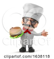 3d Funny Cartoon Italian Pizza Chef Character Eats A Beef Burger On A White Background by Steve Young