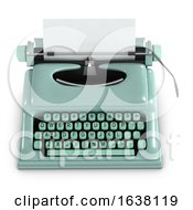 3d Green Retro Typewriter On A White Background